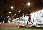 VIERA, FL-  FEBRUARY 26:  Dernard Span of the Washington Nationals takes batting practice in the cage during the Washington Nationals Spring Training at Space Coast Stadium in Viera, FL (Photo by Donald Miralle) *** Local Caption ***