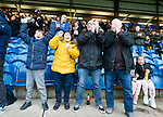 Stockport fans celebrate the equalising goal. Stockport County v Barnet, 07032020. Edgeley Park, National League. Photo by Paul Thompson.