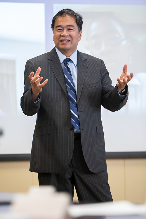 A. Gabriel Esteban, Ph.D., president of DePaul University, speaks to participants in the Leading at DePaul program, Wednesday, August 8, 2018. Leading at DePaul is a leadership development program that uses validated leadership practices combined with a Vincentian perspective and supplemented by personal experience. The pilot program began in spring 2018 and runs through July 2019. (DePaul University/Jeff Carrion)