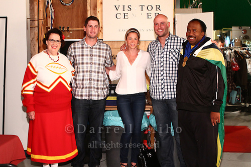 "Sep. 14, 2012; Los Angeles, CA - Matt Holliday and David Freese of the St. Louis Cardinals visit the set of ""The Office"".  Jenna Fischer, Ellie Kemper, and.Phyllis Vance, three regulars on the show, are all from St. Louis and are big St. Louis Cardinals fans."