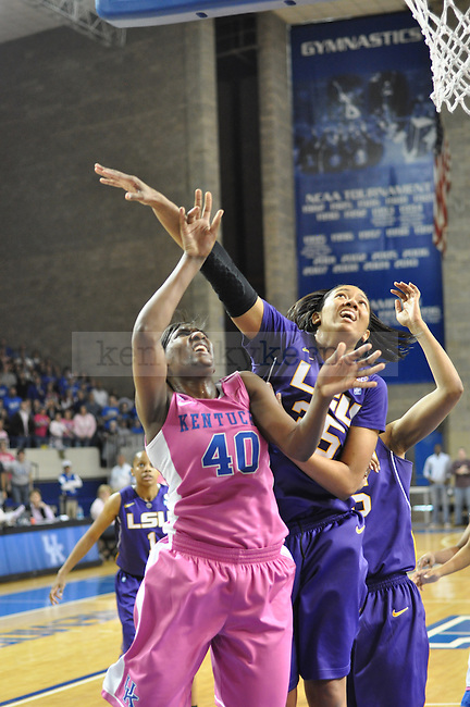 On Sunday after noon in Memorial Coliseum at 2:30pm the Kentucky Women's Basketball faced LSU. Brittany Henderson completes a lay up with only two seconds left on the clock to give Kentucky the lead.