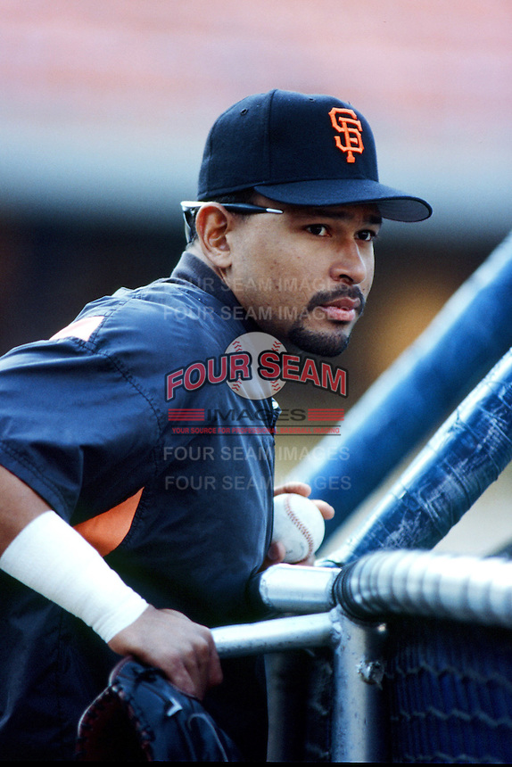 Marvin Benard of the San Francisco Giants before a 1999 Major League Baseball season game against the Los Angeles Dodgers at Dodger Stadium in Los Angeles, California. (Larry Goren/Four Seam Images)