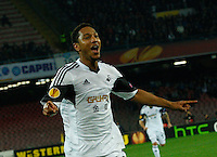 Jonathan De Guzman celebrates during <br /> <br />  UEFA Europa League round of 32 second  leg soccer match, betweenAC  Napoli  and Swansea City   at San Paolo stadium in Naples, Feburary 27 , 2014  <br /> <br /> esultanza