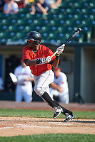 Indianapolis Indians second baseman Alen Hanson (13) squares to bunt during a game against the Rochester Red Wings on June 10, 2015 at Frontier Field in Rochester, New York.  Indianapolis defeated Rochester 5-3.  (Mike Janes/Four Seam Images)
