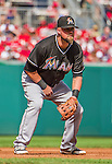 28 September 2014: Miami Marlins third baseman Casey McGehee in action against the Washington Nationals for the last game of the regular season at Nationals Park in Washington, DC. The Nationals shut out the Marlins with a 1-0 no-hitter going to Nationals pitcher Jordan Zimmermann. Mandatory Credit: Ed Wolfstein Photo *** RAW (NEF) Image File Available ***