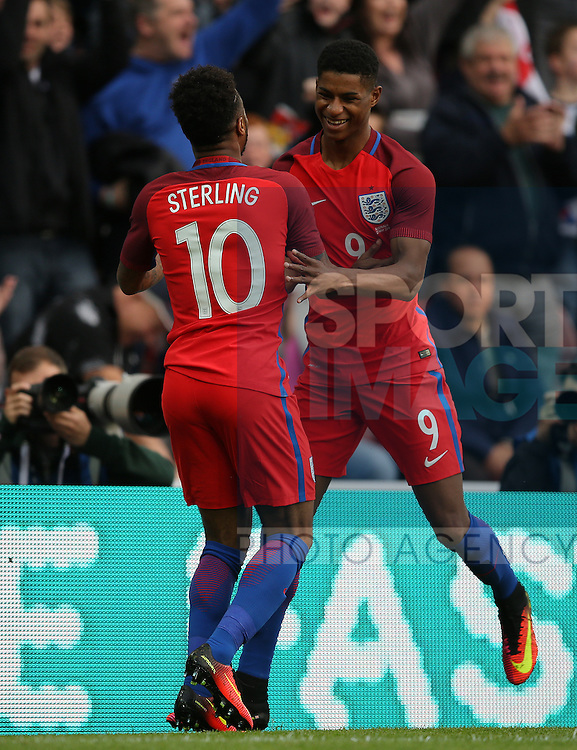 Marcus Rashford of England celebrates scoring the first goal during the International Friendly match at the Stadium of Light, Sunderland. Photo credit should read: Simon Bellis/Sportimage