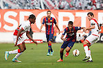 Rayo Vallecano´s Abdoulaye and Trashorras (R) and Barcelona´s Neymar Jr during La Liga match between Rayo Vallecano and Barcelona at Vallecas stadium in Madrid, Spain. October 04, 2014. (ALTERPHOTOS/Victor Blanco)