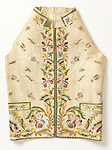 Waistcoat (France); 1785–90; satin, stem and knot stitches in silk, couched silk cord, and appliquéd silk ribbon on silk plain weave; H x W: 63 x 43 cm (24 13/16 x 16 15/16 in.); Gift of Monsieur Robert de Micheaux, 1956-155-1; Cooper Hewitt, Smithsonian Design Museum; Photo: Matt Flynn © Smithsonian Institution