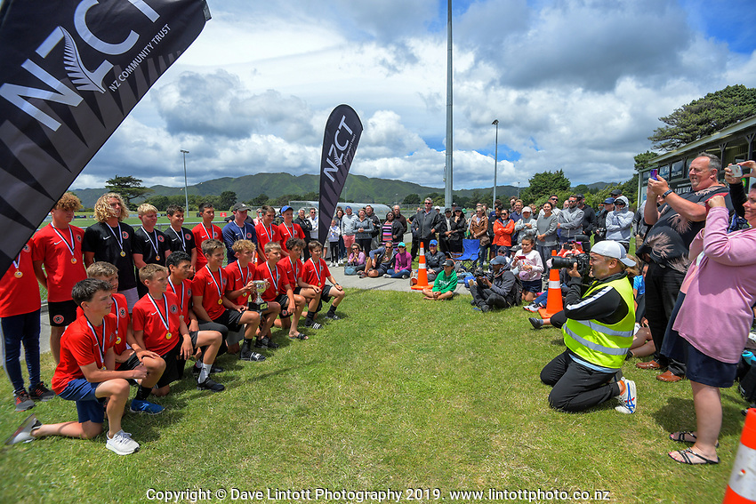 2019 National Age Group Tournament football awards ceremony at Memorial Park in Petone, Wellington, New Zealand on Sunday, 15 December 2019. Photo: Dave Lintott / lintottphoto.co.nz