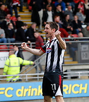 GOAL - Grimsby Town's Scott Vernon salutes the fans after scoring during the Sky Bet League 2 match between Leyton Orient and Grimsby Town at the Matchroom Stadium, London, England on 11 March 2017. Photo by Carlton Myrie / PRiME Media Images.