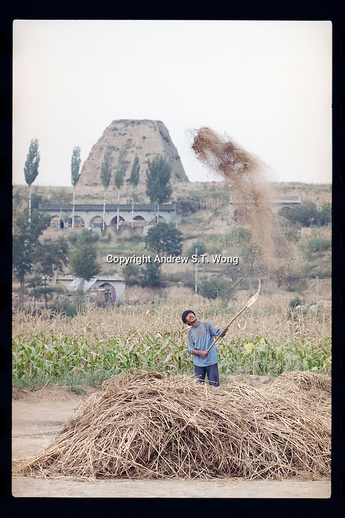 A Chinese farmer tosses freshly harvested grain in the air to separate kernels from husks in Pianguan county in northern Shanxi province, China, September 1998. Pianguan, on the border with Inner Mongolia on the Loess Plateau in northern Shanxi province, was one of the poorest counties in China with most of the residents living under the poverty line earning less than US$ 100 per person each year.