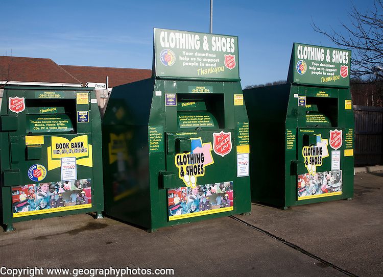 Clothing and Shoe recycling collection containers at a Tesco store, UK