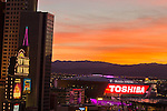 Sunset images of TMobile Arena in Las Vegas Nevada