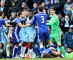 Kelechi Iheanacho of Manchester City is held back by Cesc Fabregas of Chelsea during the Premier League match at the Etihad Stadium, Manchester. Picture date: December 3rd, 2016. Pic Simon Bellis/Sportimage