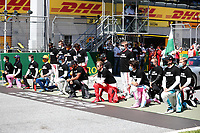 5th July 2020; Red Bull Ring, Spielberg Austria; F1 Grand Prix of Austria, Race Day; Some of the F1 drivers take a knee on the grid in support of the Black Lives Matter movement against racism