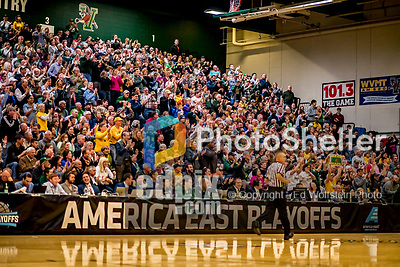 12 March 2019: University of Vermont Catamount Fans cheers the team as they play against the Binghamton University Bearcats at Patrick Gymnasium in Burlington, Vermont. The top-seeded Catamounts advanced to their fourth-straight America East conference championship game, defeating the Bearcats 84-51. Mandatory Credit: Ed Wolfstein Photo *** RAW (NEF) Image File Available ***