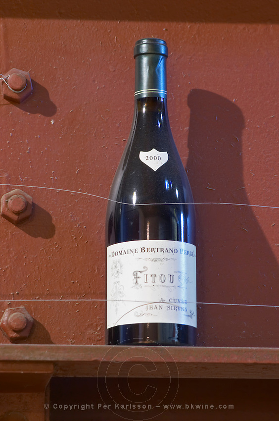 Fitou Cuvee Jean Sirven 2000. Domaine Bertrand-Berge In Paziols. Fitou. Languedoc. France. Europe. Bottle.