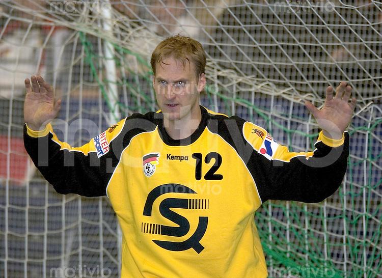 Handball Maenner Laenderspiel, Nationalmannschaft Max-Schmeling-Halle Berlin (Germany) Deutschland - Island Torwart Christian Ramota (GER)