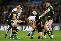 Ben Tapuai of Bath Rugby takes on the Northampton Saints defence. Aviva Premiership match, between Northampton Saints and Bath Rugby on September 15, 2017 at Franklin's Gardens in Northampton, England. Photo by: Patrick Khachfe / Onside Images