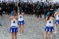 Pom-pom girls cheer on triathletes at the start of Ironman France 2012, Nice, France, 24 June 2012