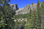 Dream Lake with Hallett Pk (left) and Flattop Mountain (right).<br />