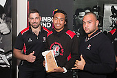 Under 16 Most Improved Player of the Year, Tuhi Pompey from Wesley College with Sean Bagshaw and Sean Paranihi. Counties Manukau Rugby Unions Junior Prize giving held at ECOLight Stadium Pukekohe on Wednesday October12th, 2016.<br /> Photo by Richard Spranger.