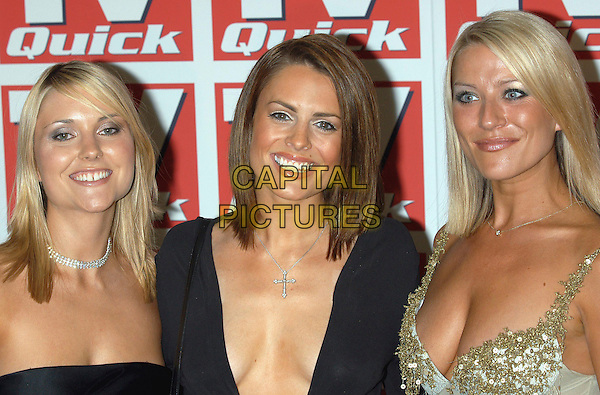 KATHERINE MONAGHAN, SUSIE AMY & ZOE LUCKER.TV Quick Awards, Dorchester Hotel, London, UK..September 9th, 2002.footballers wives headshot portrait cross crucifix necklace.CAP/PL.©Phil Loftus/Capital Pictures
