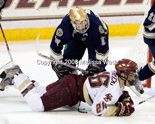 Billy Maday (Notre Dame - 17), Nick Petrecki (Boston College - 26) - The University of Notre Dame Fighting Irish defeated the Boston College Eagles 4-1 on Friday, November 7, 2008, at Conte Forum in Chestnut Hill, Massachusetts.