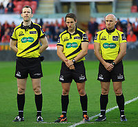 Todays Officials pause for a minutes silence to remember Josh Helps' mother who passed away this week.  Josh is a second row forward for the Scarlets' feeder team, Carmarthen Quins.<br /> <br /> Photographer Dan Minto/CameraSport<br /> <br /> Guinness PRO12 Round 19 - Scarlets v Benetton Treviso - Saturday 8th April 2017 - Parc y Scarlets - Llanelli, Wales<br /> <br /> World Copyright &copy; 2017 CameraSport. All rights reserved. 43 Linden Ave. Countesthorpe. Leicester. England. LE8 5PG - Tel: +44 (0) 116 277 4147 - admin@camerasport.com - www.camerasport.com