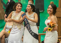 NWA Democrat-Gazette/ANTHONY REYES &bull; @NWATONYR<br /> Lizbeth Andrade, from left, Aylin Pulido and Cinthia Salas dance Friday, Sept. 25, 2015 during the pep rally at Heritage High School in Rogers. Andrade and Salas were senior maids while Pulido was crowned Homecoming Queen. The event including the introduction of the 2015 homecoming court, musical performances, dancing and a pep rally for a football game against Springdale.