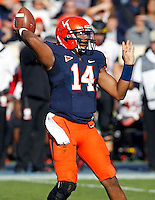 Virginia Cavaliers quarterback Phillip Sims (14) throws the ball during the game against Maryland in Charlottesville, Va. Maryland defeated Virginia 27-20.