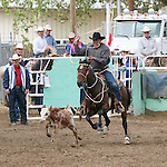 Bob Krieger in the 60+ group of calf roping.