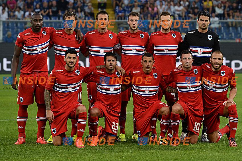 Formazione. Team Line ups <br /> Genova 02-08-2014 Stadio Marassi <br /> Calcio 2014/2015 Sampdoria - Eintracht Francoforte <br /> Foto Matteo Gribaudi / Image/ Insidefoto