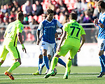 FK Trakai v St Johnstone…06.07.17… Europa League 1st Qualifying Round 2nd Leg, Vilnius, Lithuania.<br />Richie Foster is closed down by Aliaksandr Bychanok<br />Picture by Graeme Hart.<br />Copyright Perthshire Picture Agency<br />Tel: 01738 623350  Mobile: 07990 594431