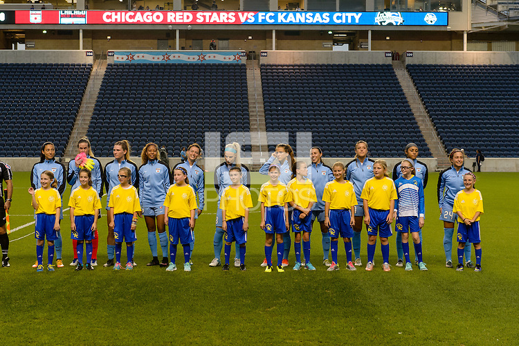 Chicago, IL - Wednesday Sept. 07, 2016: Chicago Red Stars Starting XI, player escorts prior to a regular season National Women's Soccer League (NWSL) match between the Chicago Red Stars and FC Kansas City at Toyota Park.