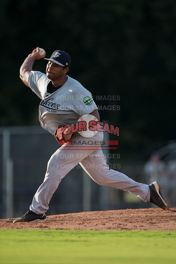 Pulaski Yankees starting pitcher Juan Jimenez (67) delivers a pitch to the plate against the Danville Braves at American Legion Post 325 Field on July 31, 2016 in Danville, Virginia.  The Yankees defeated the Braves 8-3.  (Brian Westerholt/Four Seam Images)