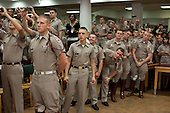 College Station, TX - October 16, 2009 -- Marine Corps cadets react as United States President Barack Obama arrives in the Marine Corps Mess Hall at Texas A&M University, in College Station, Texas, October 16, 2009..Mandatory Credit: Pete Souza - White House via CNP