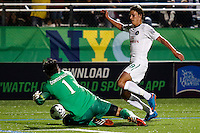 New York Cosmos player Mads Stokkelien (R ) fights for the ball against Tampa Bay Rowdies player Kamil Contofalsky during their soccer match in the North American Soccer League in New York. Eduardo MunozAlvarez/VIEWpress 04/18/2015