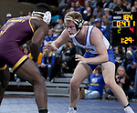 SIOUX FALLS, SD - NOVEMBER 11: Samuel Gore from South Dakota State battles with Kordell Norfleet from Arizona State during their 184 pound match Sunday afternoon at the Sanford Pentagon in Sioux Falls, SD.  (Photo by Dave Eggen/Inertia)