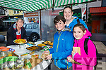 Enjoying the Tralee Chamber Alliance annual Food Festival in the Square on Saturday were sean O'Donnell, Aisling Sweeney and Grainne O'Donnell with Barbara Eames, Blastoga Foods