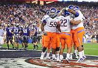 Jan. 4, 2010; Glendale, AZ, USA; Boise State Broncos running back (22) Doug Martin is congratulated after scoring a touchdown in the fourth quarter against the TCU Horned Frogs in the 2010 Fiesta Bowl at University of Phoenix Stadium. Boise State defeated TCU 17-10. Mandatory Credit: Mark J. Rebilas-