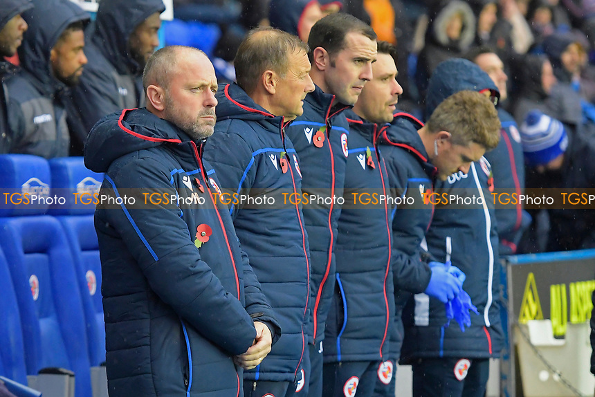 Reading Manager Mark Bowen and his backroom staff observe the minutes silence during Reading vs Luton Town, Sky Bet EFL Championship Football at the Madejski Stadium on 9th November 2019