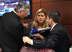 Nevada Sens. James Settelmeyer, Patricia Farley and Mark Manendo work at the Legislative Building in Carson City, Nev., on Friday, March 20, 2015. <br /> Photo by Cathleen Allison