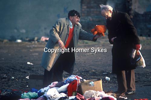 Dumped rubbish at 'flea market' Liverpool 1983. 1980s Poverty in Britain