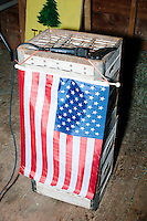 A microphone stands on a podium with an American flag before satirical presidential candidate Vermin Supreme speaks at Ten Rod Farm in Rochester, New Hampshire. Supreme's platform advocates a pony-based economy, using zombies to solve the energy crisis, and other outlandish ideas. Supreme has been on the New Hampshire primary ballot in 2008 and 2012, though he has began running for president in 1992. Vermin Supreme will be on the Democratic party ballot in the 2016 New Hampshire primary.
