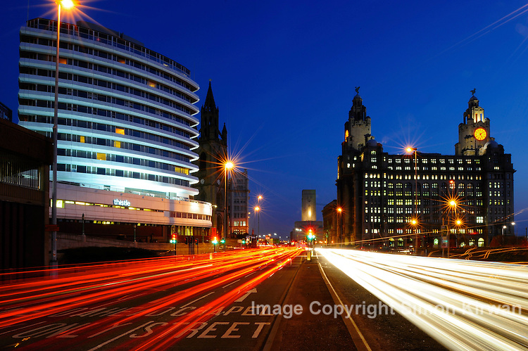 Liverpool City centre at night, Liver Building on right, Thistle Hotel (formerly Atlantic Tower) on left