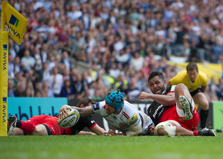 Jack Nowell of Exeter Chiefs scores his sides second try<br /> <br /> Photographer Ashley Western/CameraSport<br /> <br /> Rugby Union - Aviva Premiership Final - Saracens v Exeter Chiefs - Saturday 28th May 2016 - Twickenham Stadium, Twickenham, London  <br /> <br /> World Copyright &copy; 2016 CameraSport. All rights reserved. 43 Linden Ave. Countesthorpe. Leicester. England. LE8 5PG - Tel: +44 (0) 116 277 4147 - admin@camerasport.com - www.camerasport.com