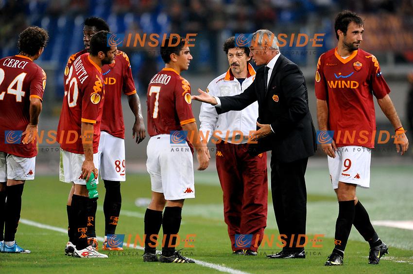 David PIZARRO e Claudio RANIERI Roma<br /> Roma 1/10/2009 Stadio &quot;Olimpico&quot;<br /> Roma Cska Sofia 2-0<br /> Europa League 2009/2010<br /> Foto Andrea Staccioli Insidefoto