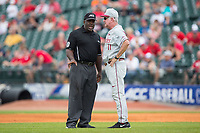 Florida State Seminoles head coach Mike Martin (11) discusses a call with second base umpire Troy Fullwood during the game against the Louisville Cardinals in Game Eleven of the 2017 ACC Baseball Championship at Louisville Slugger Field on May 26, 2017 in Louisville, Kentucky.  The Seminoles defeated the Cardinals 6-2 to advance to the semi-finals.  (Brian Westerholt/Four Seam Images)