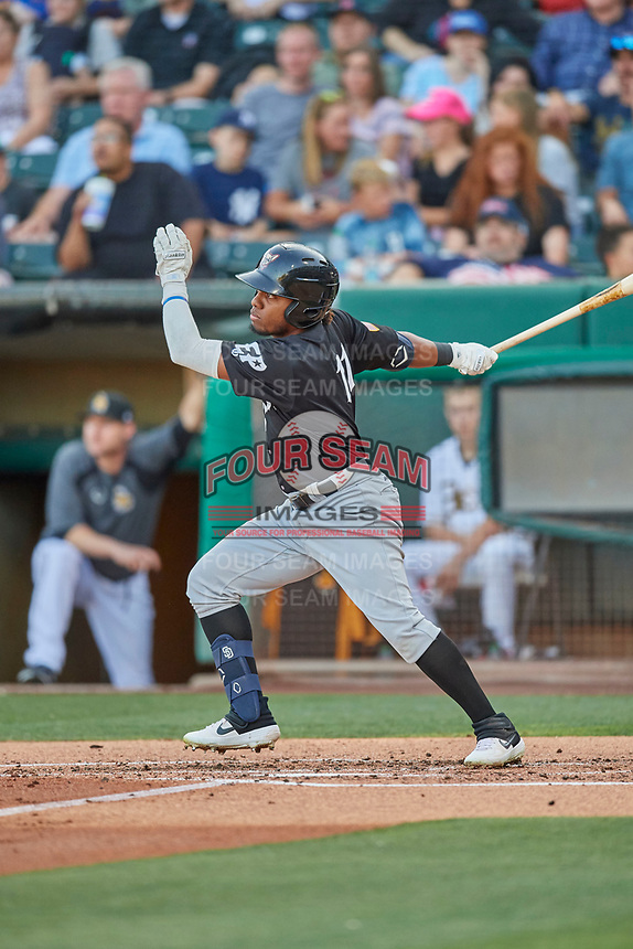 Rodrigo Orozco (11) of the El Paso Chihuahuas at bat against the Salt Lake Bees at Smith's Ballpark on August 17, 2019 in Salt Lake City, Utah. The Bees defeated the Chihuahuas 5-4. (Stephen Smith/Four Seam Images)